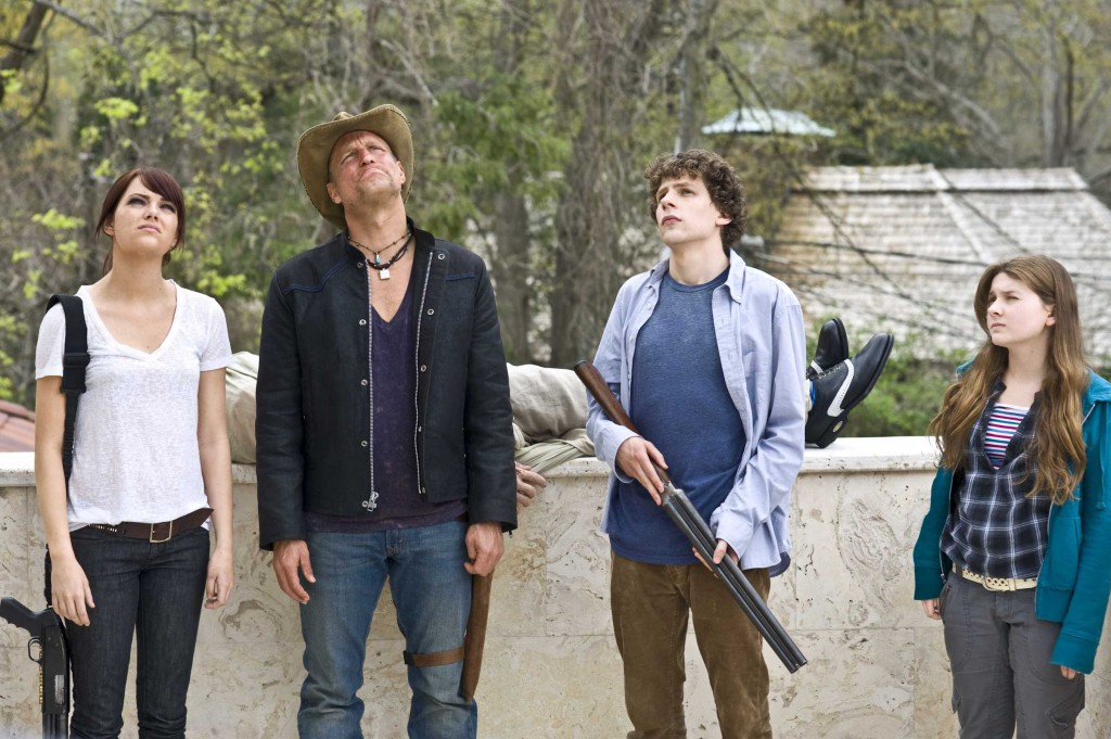 (l to r) Emma Stone, Woody Harrelson, Jesse Eisenberg and Abigail Breslin star in Columbia Pictures' comedy ZOMBIELAND.